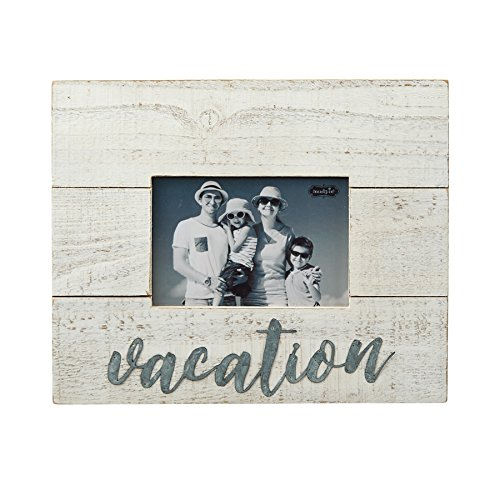 Mud Pie 4695402 Distressed Plank Wood & Tin Vacation Frame, 4 x 6