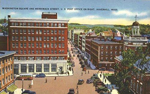 Washington Square and Merrimack Street, U. S. Post Office on Right Original Vintage Postcard