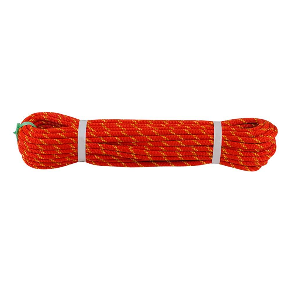 屋外ロッククライミング補助ロープ、耐摩耗性ダウンヒル安全ロープ、火災救助空中作業登山洞窟上流静的ロープ-12mm-オレンジ-50m オレンジ 50m
