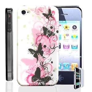 NUEVO Phoenix Negro Rosa Blanco Floral Butterflies Hard Back Case Cover Carcasa Caso para iPhone 4S + Protector de pantalla