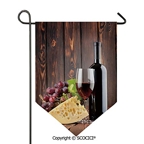 Easy Clean Durable Charming 12x18.5in Garden Flag Red Wine Cabernet Bottle and Glass Cheese and Grapes on Wood Planks Print Decorative,Brown Burgundy Cream Double Sided Printed,Flag pole NOT ()