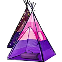LimitlessFunN Teepee Kids Play Tent Bonus Star Lights & Carrying Case for Girls & Boys, Indoor & Outdoor Use