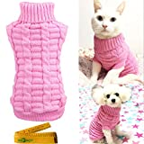 Knitted Braid Plait Turtleneck Sweater Knitwear Outwear for Dogs & Cats (Pink, S)