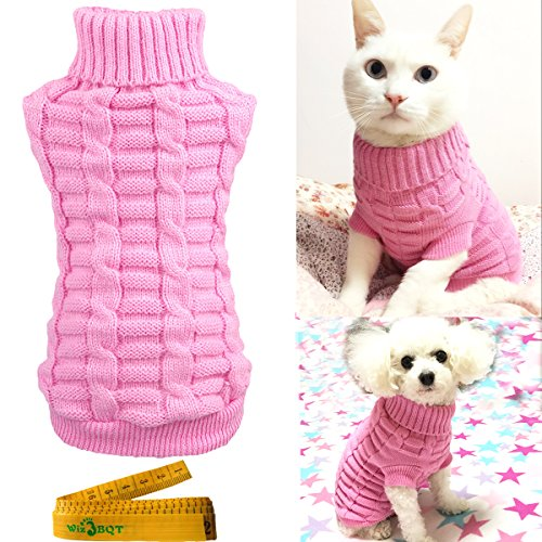 Knitted Braid Plait Turtleneck Sweater Knitwear Outwear for Dogs & Cats (Pink, XS)