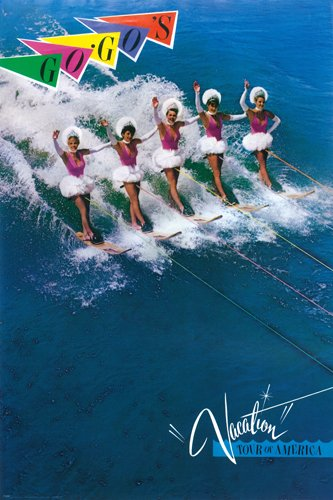 The Go Gos 1982 Vacation Concert Poster Retro Waterskiing Pop Music 24X36