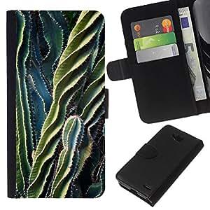 Leather Etui en cuir || LG OPTIMUS L90 || Planta Verde Desierto Espina @XPTECH