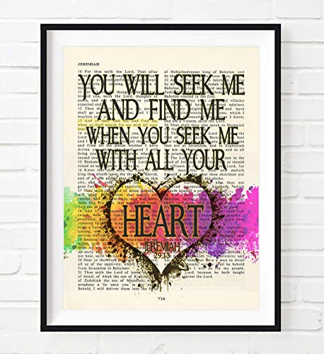 (You Will Seek Me and Find Me, Jeremiah 29:13, Christian Art Print, Unframed, Vintage Bible Page Verse Scripture Colorful Heart Wall and Home Decor Poster, 8x10)