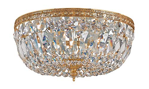 Crystorama 712-OB-CL-MWP Crystal Three Light Crystal Basket from Richmond collection in Brassfinish,