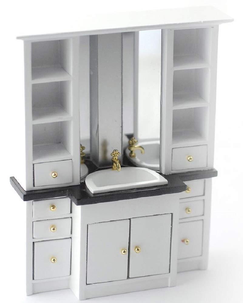 Melody Jane Dollhouse Modern Vanity Sink Unit Black & White Bathroom Furniture