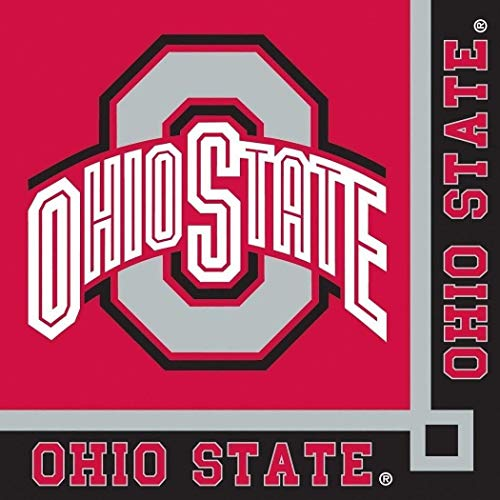 Ohio State Buckeyes NCAA College University Sports Party Paper, Napkins for Beverage for 20 Guests - Beverage State Buckeyes Ohio