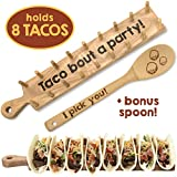 Trendy Together Wooden Taco Holder - Wooden Taco Tray Stand Up Rack Holds 8 Soft or Hard Shell Tacos - Great for Tortillas, Burritos, Home, Parties & Restaurants