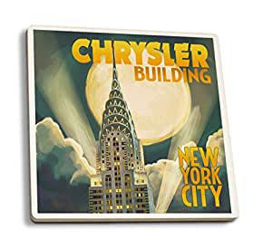 New York - Chrysler Building and Full Moon (Set of 4 Ceramic Coasters - Cork-backed, Absorbent)