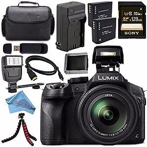 Panasonic Lumix DMC-FZ300 DMC-FZ300K Digital Camera + DMW-BLC12 Lithium Ion Battery + Charger + Sony 128GB SDXC Card + Case + Tripod + Micro HDMI Cable + Memory Card Wallet + Flash Bundle