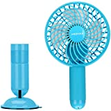 Small Portable Fan, MOMAX Mini USB Rechargeable Fan with 2500mAh Power Bank, Mini Pocket Personal Fans Handheld for Traveling,Fishing,Camping, Hiking,BBQ,Baby Stroller, Picnic, Biking, Boating (Blue)