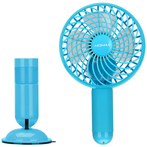 MOMAX Small Portable Fan, Mini USB Rechargeable Fan with 2500mAh Power Bank, Mini Pocket Personal Fans Handheld for Traveling,Fishing,Camping, Hiking,BBQ,Baby Stroller, Picnic, Biking, Boating (Blue) by MOMAX