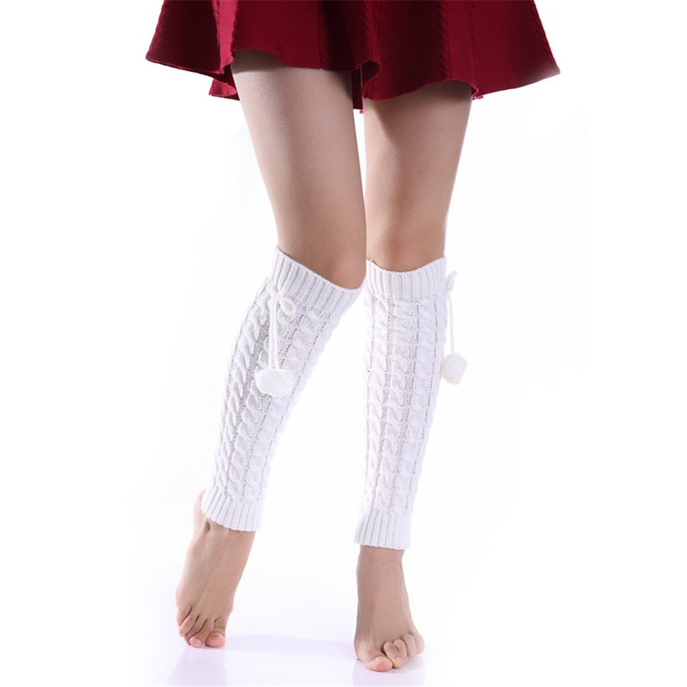 Wildestdream Womens Thick Cable Knitted Leg Warmers White