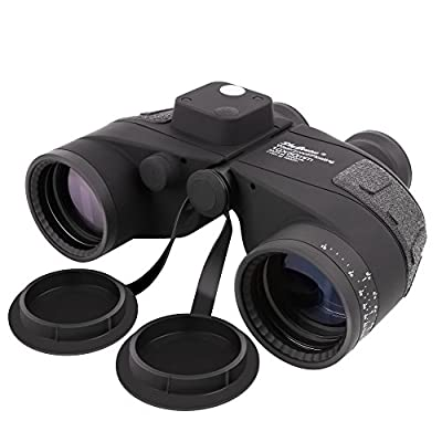 SkyGenius 10X50 Rangefinder Binoculars with Compass, BAK4 Prism Marine binoculars for Military sailing boating outdoor hunting bird watching (Waterproof, Fog-proof and Floating)