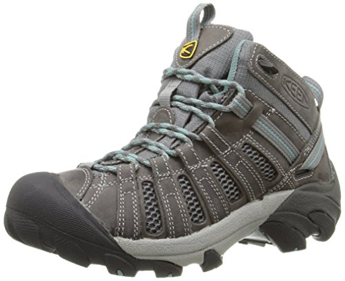 KEEN Women's Voyageur Mid Hiking Shoe, Gargoyle/Mineral Blue, 8.5 M US