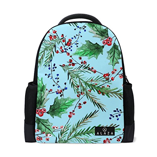 Backpack Rucksack Laptop Bag Shoulder Daypack for Student Holly Berries And Fir Tree Branches 16x6x11in