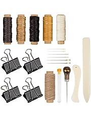 Set of 20 Bookbinding Tools, DaKuan Bone Folder Creaser Waxed Linen Thread Wood Handle Awl Large-eye Needles Binder Clips for Handmade DIY Bookbinding Crafts and Sewing Supplies