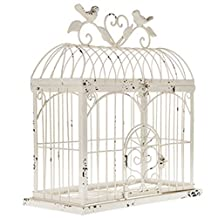 "BEAUTIFUL 14.5"" DISTRESSED METAL BIRDCAGE HOME DECOR ~ ANTIQUE WHITE ~ 14.5"" x 13"""