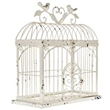 Cheap BEAUTIFUL 14.5″ DISTRESSED METAL BIRDCAGE HOME DECOR ~ ANTIQUE WHITE ~ 14.5″ x 13″