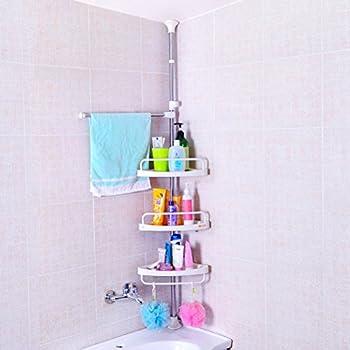 Amazon.com: Baoyouni Bathroom Shower Corner Caddy Bath Tub Storage ...