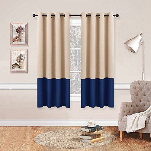 Pole Top Curtain Panel (NICETOWN Colorblock Blackout Draperies Curtains - Home Fashion Thermal Insulated Grommet Top Blackout Curtains / Drapes for Bedroom (2-Pack,52 by 63