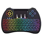 Calvas 2.4GHz Air Mouse Backlit Wireless Mini Keyboard H9 VS Rii i8 Touchpad for Android TV BOX Laptop for PS3 Backlight Gamepad - (Color: As picture)