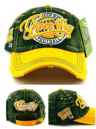 (Green Bay New Leader Women Ladies Vintage Cheese Head Packers Colors Green Gold Era Hat Cap )