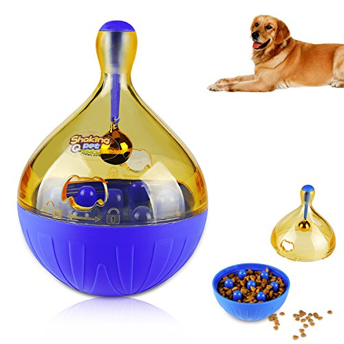 ONSON Interactive Dog Toy - IQ Treat Ball Food Dispensing Toys for Small Medium Large Dogs Durable Chew Ball - Nontoxic Rubber and Bouncy Dog Ball (Blue) by ONSON