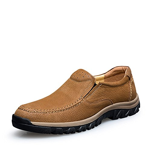 Vilocy Hommes Chaussures De Sport En Cuir Anti-dérapant Slip Sur Les Espadrilles De Randonnée En Plein Air Baskets Marron Clair, 46eu