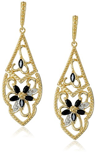 Yellow Gold-Plated Sterling Silver Sapphire Flower Dangle Earrings