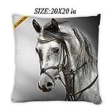 Artsbaba Pillowcases White Horse Zipped Pillowcase Decorative Throw Pillow Cover 20''x20''