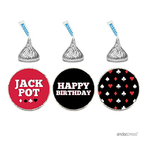 Andaz Press Birthday Chocolate Drop Labels Trio, Fits Hershey's Kisses Party Favors, Poker Party, (Poker Party)