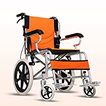 LYYYL Wheelchair Lightweight Folding Portable Transport Chair with Bags Solid Tires Seatbelt Hand Brakes Comfortable Armrest Seat Heavy Duty 220lbs Swing Away Foot Rrests for Men and Women (orange)