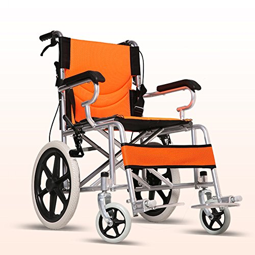 (LYYYL Wheelchair Lightweight Folding Portable Transport Chair with Bags Solid Tires Seatbelt Hand Brakes Comfortable Armrest Seat Heavy Duty 220lbs Swing Away Foot Rrests for Men and Women (orange))