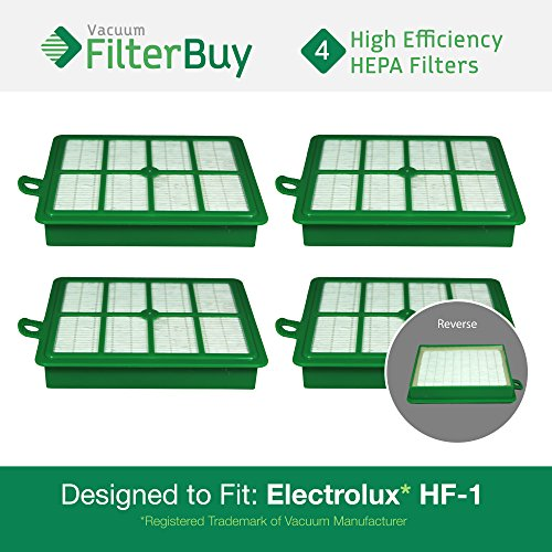 FilterBuy 4 Eureka Electrolux Sanitaire Compatible Washable HF1 (HF-1) HF12 (HF-12) HEPA Filters, Part # 60286A, Designed to fit Eureka Electrolux Sanitaire Canister Vacuum Cleaners.