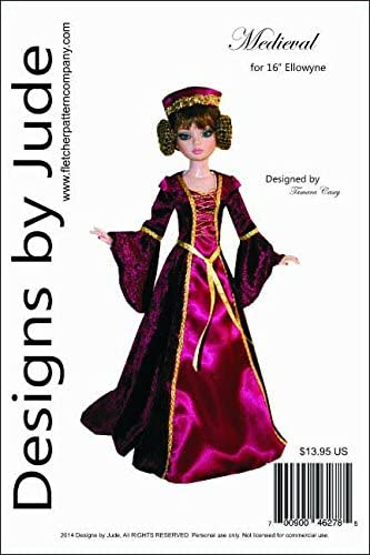 """Princess Doll Clothes Sewing Pattern for 16/"""" Ellowyne Wilde Dolls Tonner"""