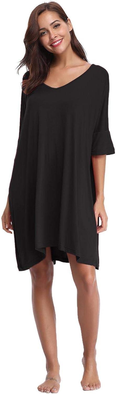 Abollria Damen Nachthemd Loose Fit Nachtw/äsche Nachtkleid Kurz Baumwolle Schlafshirt O-Ausschnitt Rock Schlanke Nachtw/äsche Sleepshirt Kurzarm f/ür Sommer