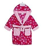 MiniKidz Childrens Girls Fairy Princess Star Dressing Gown - Hooded Fleece Robe Pink 4-5