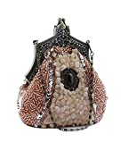 MissFox Women's Vintage Beaded Paillette Handbag Detachable Chain Clutches Evening Bags