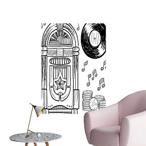 Wall Decoration Wall Stickers Style Retro Music Box Notes Coins Long Play Vintage Sketchy Artwork Black and Print Artwork,32