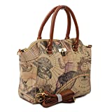 Copi Women's World Map Tote Shoulder Bags One Size Beige