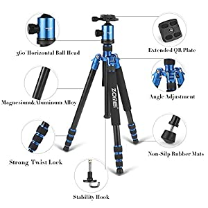 ZOMEi Z818 Hiking Tripod For DSLR Cameras Canon Nikon Sony ( Blue )
