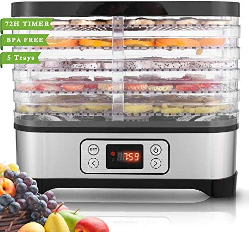 Food Dehydrator Machine for Jerky Meat Fruit Vegetable Beef, BPA Free, Digital Timer Temperature Control 250W 5 Trays, Black Timer