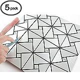 ROSEROSA Peel and Stick Tile Metal Backsplash for Kitchen, Wall Tiles Aluminum Surface : Pack of 5 (Metal-410)