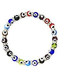 Turkish Evil Eye Murano Glass Bead Stretch Bracelet Crystal Spacers Protection Good Luck