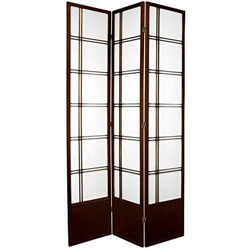 Oriental Furniture 7 ft. Tall Double Cross Shoji Screen - Walnut - 3 Panels