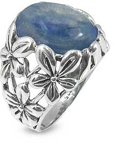 Sterling Silver Ring with Oval Kyanite Stone (BTS-NRB6067/KYA) - Size 9